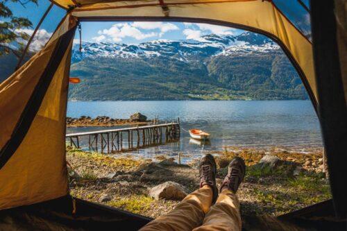 вид с палатки, утро